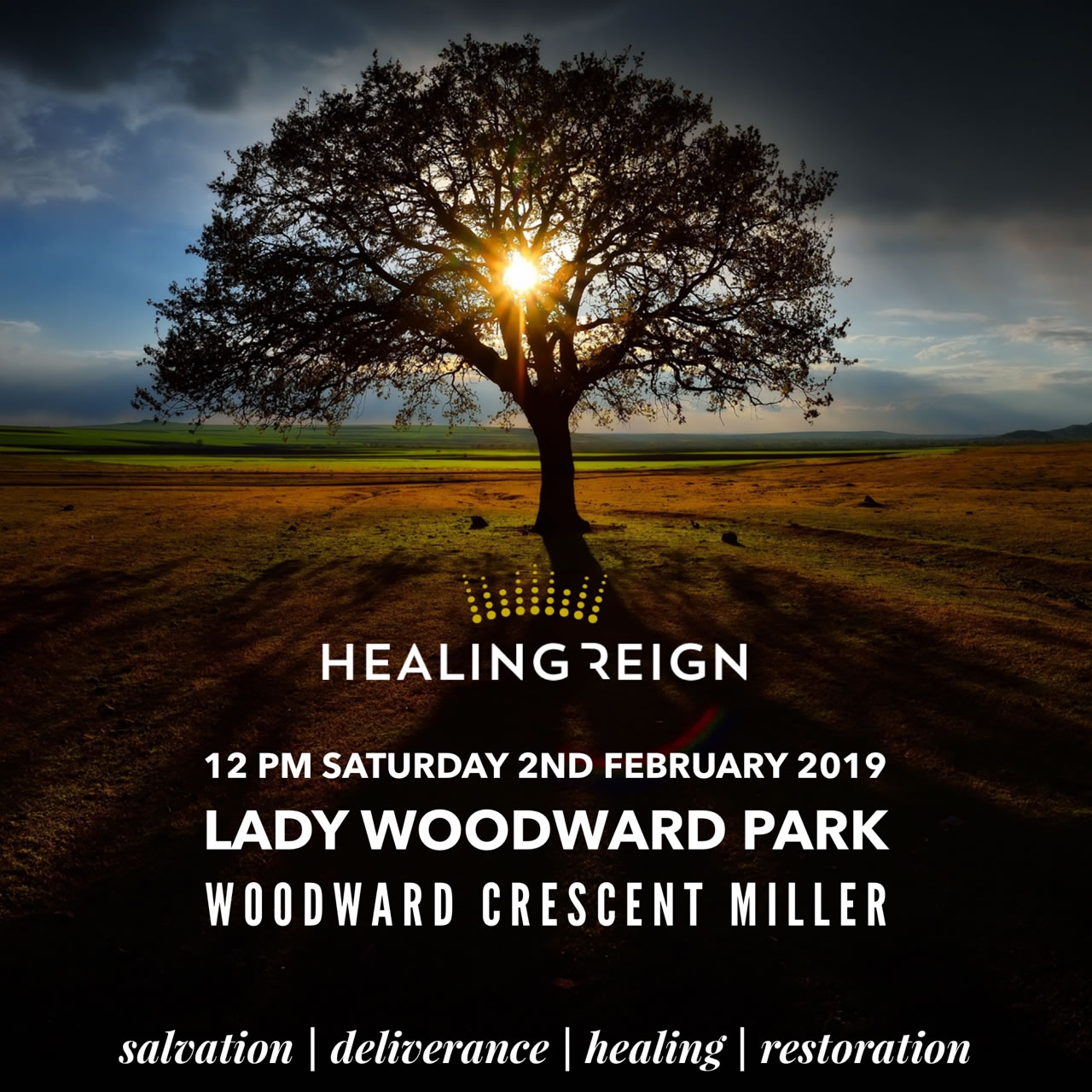 Healing Reign outreach at Lady Woodward Park Miller Saturday 2nd Feb
